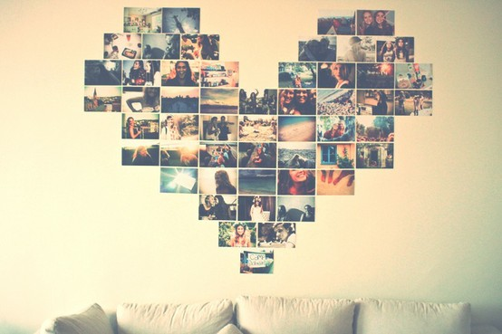 Decorao Mural de fotos formato de corao Dose de Iluso