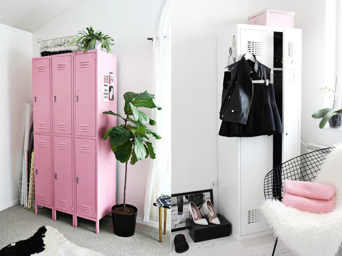 decoração-armário-lockers-no-quarto