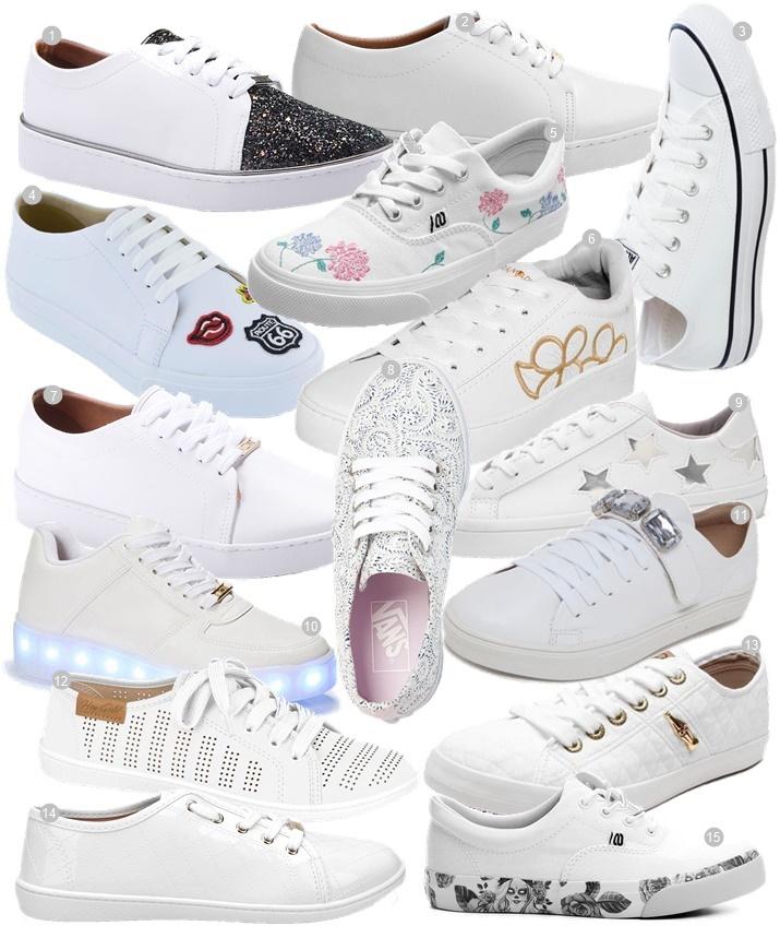 121c77fa7df Os tênis brancos vêm roubando coração de um monte de gente. É um dos  calçados que está sendo o favorito nos looks de street style e de muitas  fashionistas ...